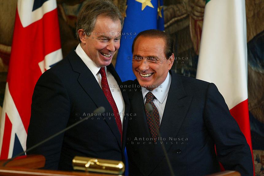 Roma, Maggio, 2005. Silvio Berlusconi con il primo ministro inglese Tony Blair..British Prime Minister, Tony Blair  during the press conference with Silvio Berlusconi at Chigi Palace.