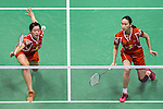 Bao Yixin and Yu Xiaohan of China competes against Kamilla Rytter Juhl and Christinna Pedersen of Denmark during their Women's Doubles Semi-Final of YONEX-SUNRISE Hong Kong Open Badminton Championships 2016 at the Hong Kong Coliseum on 26 November 2016 in Hong Kong, China. Photo by Marcio Rodrigo Machado / Power Sport Images
