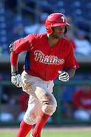 Philadelphia Phillies outfielder Tyson Gillies #64 at bat during a scrimmage against the Florida State Seminoles at Brighthouse Field on February 29, 2012 in Clearwater, Florida.  Philadelphia defeated Florida State 6-1.  (Mike Janes/Four Seam Images)