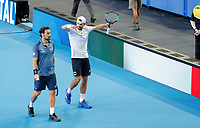 5th January 2020; RAC Arena, Perth, Western Australia; ATP Cup Australia, Perth, Day 3; Italy versus Norway; Simone Bolelli and Fabio Fognini of Italy celebrate after winning the doubles against Norway 2 sets to love - Editorial Use