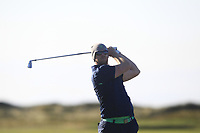 Peter O'Keeffe from Ireland on the 18th tee during Round 1 Singles of the Men's Home Internationals 2018 at Conwy Golf Club, Conwy, Wales on Wednesday 12th September 2018.<br /> Picture: Thos Caffrey / Golffile<br /> <br /> All photo usage must carry mandatory copyright credit (© Golffile | Thos Caffrey)