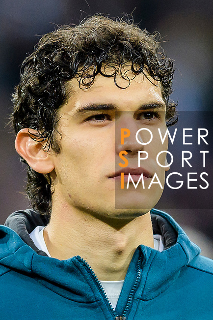 Jesus Vallejo Lazaro of Real Madrid prior to the UEFA Champions League 2017-18 quarter-finals (2nd leg) match between Real Madrid and Juventus at Estadio Santiago Bernabeu on 11 April 2018 in Madrid, Spain. Photo by Diego Souto / Power Sport Images