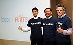 June 8, 2016, Tokyo, Japan - American online storage service giant Box Inc. CEO Aaron Levie (R) smiles with Japanese computer giant Fujitsu executive Hiroyuki Sakai (C) and Box Japan president Katsunori Furuichi (L) as they agreed partnership between Box and Fujitsu in Tokyo on Wednesday, June 8, 2016. Fujitsu and Box will enter a strategic partnership in the content management space and Box will help control data storage expansion costs.   (Photo by Yoshio Tsunoda/AFLO) LWX -ytd-