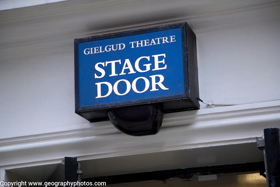 Stage Door sign Gielgud theatre, London, England