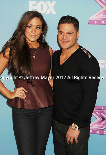 LOS ANGELES, CA - DECEMBER 19: Sammi 'Sweetheart' Giancola and Ronnie Ortiz-Magro arrive at Fox's 'The X Factor' Season Finale Night 1 at CBS Televison City on December 19, 2012 in Los Angeles, California.