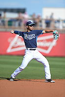 Tampa Bay Rays shortstop Hak-Ju Lee (36) during a spring training game against the Minnesota Twins on March 2, 2014 at Charlotte Sports Park in Port Charlotte, Florida.  Tampa Bay defeated Minnesota 6-3.  (Mike Janes/Four Seam Images)