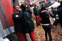 Lo storico Carnevale di Ivrea con la tradizionale battaglia delle arance, Ivrea 3-3-2014. Foto Marco Bertorello/Insidefoto <br /> <br /> Ivrea's battle of the Oranges. The Battle of the Oranges is a festival in the Northern Italian city of Ivrea, which includes a tradition of throwing of oranges between organized groups. <br /> It is the largest food fight in Italy. <br /> <br /> Foto Marco BErtorello / Insidefoto
