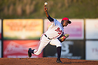 Danville Braves relief pitcher Jesus Heredia (36) delivers a pitch to the plate against the Elizabethton Twins at American Legion Post 325 Field on July 1, 2017 in Danville, Virginia.  The Twins defeated the Braves 7-4.  (Brian Westerholt/Four Seam Images)