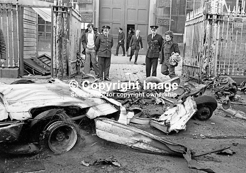 Scene of  explosion outside gates of Crumlin Road Prison, Belfast, N Ireland, UK.  The bomb, believed to around 100 lbs of explosive, was in hijacked delivery van.197703140163c.<br />