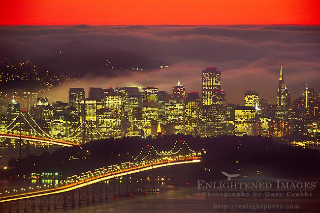 Fog at sunset over San Francisco, California