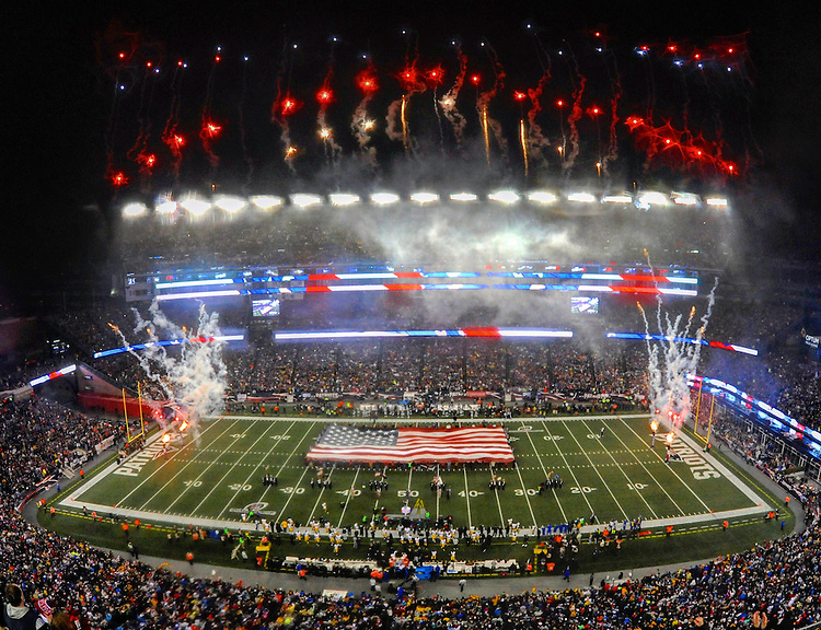 (Foxboro, MA, 01/22/17) Fireworks burst over Gillette Stadium during the singing of the National Anthem prior to the start of the NFL football NFC championship game between the New England Patriots and Pittsburgh Steelers at Gillette Stadium in Foxboro on Sunday, January 22, 2017. Photo by Christopher Evans