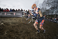 Rob Peeters (BEL) riding for a brand new team (Vastgoedservice-Golden Palace) and giving them some visibility by riding in 2nd place for a good part of the race.<br /> <br /> GP Sven Nys 2014