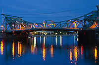 The Jefferson Street Bridge crosses over the DesPlaines River at Dusk, Joliet, Illinois