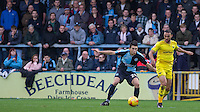 Kemar Roofe of Oxford United & Luke O'Nien of Wycombe Wanderers in action during the Sky Bet League 2 match between Wycombe Wanderers and Oxford United at Adams Park, High Wycombe, England on 19 December 2015. Photo by Andy Rowland.