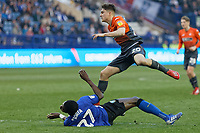 Daniel James of Swansea City (R) tackled by Dominic Iorfa of Sheffield Wednesday during the Sky Bet Championship match between Sheffield Wednesday and Swansea City at Hillsborough Stadium, Sheffield, England, UK. Saturday 23 February 2019