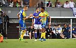 2018-08-10 / Voetbal / Seizoen 2018-2019 / KFCO Beerschot-Wilrijk - KVC Westerlo / Westerlo viert de 1-1. Jens Naessen en Abroise Gboho<br /> <br /> ,Foto: Mpics
