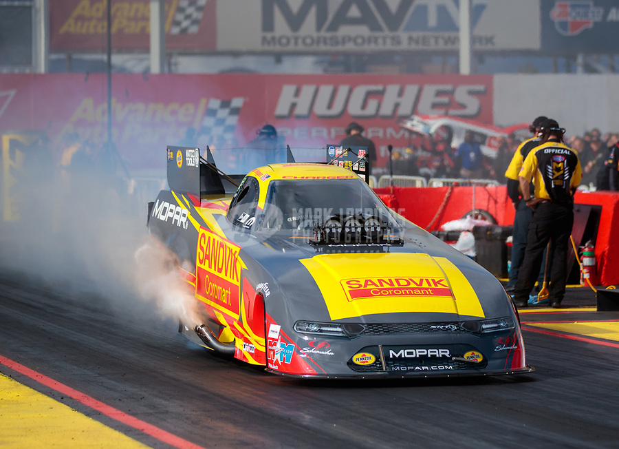 Feb 22, 2019; Chandler, AZ, USA; NHRA funny car driver Matt Hagan during qualifying for the Arizona Nationals at Wild Horse Pass Motorsports Park. Mandatory Credit: Mark J. Rebilas-USA TODAY Sports