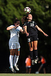 21 August 2016: Charlotte's Kelley Suggs (15) and North Carolina's Darcy McFarlane (11). The University of North Carolina Tar Heels hosted the University of North Carolina Charlotte 49ers in a 2016 NCAA Division I Women's Soccer match. UNC won the game 3-0
