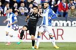 CD Leganes' David Timor (r) and Real Madrid's Lucas Vazquez during La Liga match. April 5,2017. (ALTERPHOTOS/Acero)