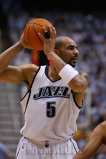 Salt Lake City - Utah Jazz vs. Golden State Warriors, NBA Playoffs basketball, second round, Game Two, at EnergySolutions Arena. Utah Jazz forward Carlos Boozer (5)