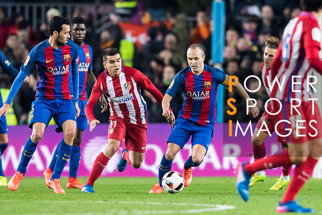 Andres Iniesta Lujan (r) of FC Barcelona battles for the ball with Angel Correa of Atletico de Madrid during their Copa del Rey 2016-17 Semi-final match between FC Barcelona and Atletico de Madrid at the Camp Nou on 07 February 2017 in Barcelona, Spain. Photo by Diego Gonzalez Souto / Power Sport Images