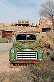 USA, Utah, Bluff, an old GMC truck parked in front of the Comb Ridge coffee house and cafe