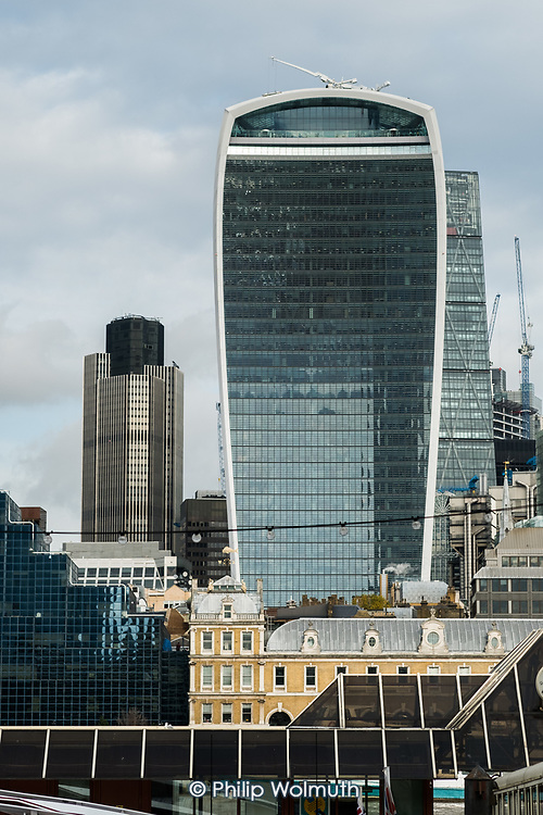 The Walkie Talkie building, 20 Fenchurch Street, and the NatWest tower, city of London.