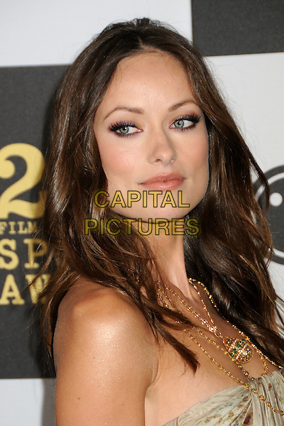 OLIVIA WILDE.25th Annual Film Independent Spirit Awards - Arrivals held at the Nokia Event Deck at L.A. Live, Los Angeles, California, USA..March 5th, 2010.headshot portrait strapless beige gold print printed patterned pattern gold necklaces make-up beauty eyeliner mascara .CAP/ADM/BP.©Byron Purvis/AdMedia/Capital Pictures.