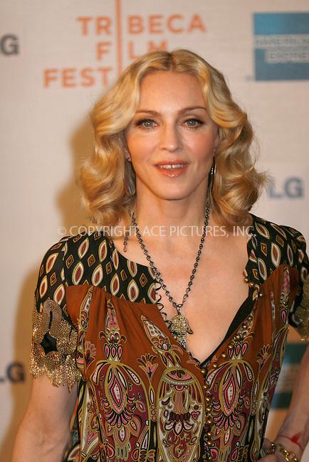 WWW.ACEPIXS.COM . . . . .  ....April 24, 2008. New York City.....Madonna attends the 7th Annual Tribeca Film Festival 'I Am Because We Are' Premiere at Borough of Manhattan Community College / Tribeca Performing Arts Center.......Please byline: NANCY RIVERA - ACEPIXS.COM.... *** ***..Ace Pictures, Inc:  ..Philip Vaughan  (646) 769 0430..e-mail: info@acepixs.com..web: http://www.acepixs.com