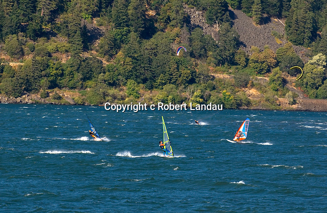 Windsurfing in the Columbia River at the town of  Hood River, OR