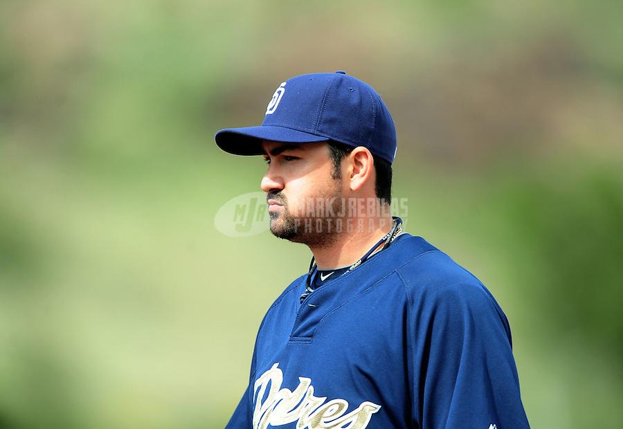 Mar. 9, 2010; Tempe, AZ, USA; San Diego Padres first baseman Adrian Gonzalez against the Los Angeles Angels at Tempe Diablo Stadium. Mandatory Credit: Mark J. Rebilas-