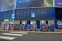 Pictured:  Tributes for Emiliano Sala placed outside the Cardiff City Stadium in south Wales, UK. Wednesday 23 January 2019<br /> Re: Premier League footballer Emiliano Sala was on a flight which disappeared between France and Cardiff.<br /> The Argentine striker was one of two people on board the Piper Malibu, which disappeared off Alderney on Monday night.<br /> Cardiff City FC, signed the 28-year-old from French club Nantes.