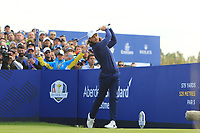 Tommy Fleetwood (Team Europe) on the 9th fairway during Friday Fourball at the Ryder Cup, Le Golf National, Iles-de-France, France. 28/09/2018.<br /> Picture Thos Caffrey / Golffile.ie<br /> <br /> All photo usage must carry mandatory copyright credit (© Golffile | Thos Caffrey)