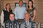 Retirement.----------.after 35yrs Brian Crowley(seated Rt)celebrated his retirement from FAS training centre Monavalley  with his family in Stokers Lodge bar/restaurant Tralee last Friday night,with him were (seated Lt)Brian Jnr(back)L-R Sarah Bailey,John and Daire Mc Cann.   Copyright Kerry's Eye 2008