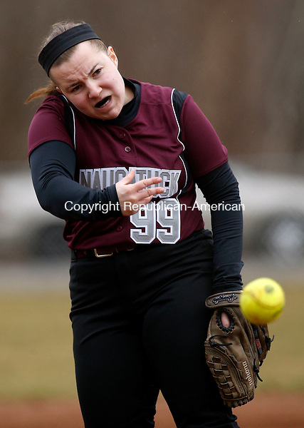 Naugatuck, CT- 08 April 2015-040815CM14- Naugatuck's  Erika Andreoli delivers a pitch during their NVL matchup against Watertown on Wednesday.   Christopher Massa Republican-American