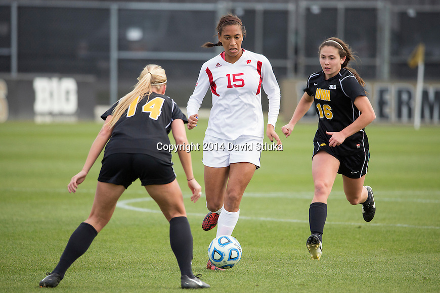 Wisconsin Badgers Cara Walls (15) handles the ball during an NCAA Big Ten Championship women's soccer game against the Iowa Hawkeyes November 9, 2014, in West Lafayette, Indiana. the Badgers won 1-0 in double overtime. (Photo by David Stluka)
