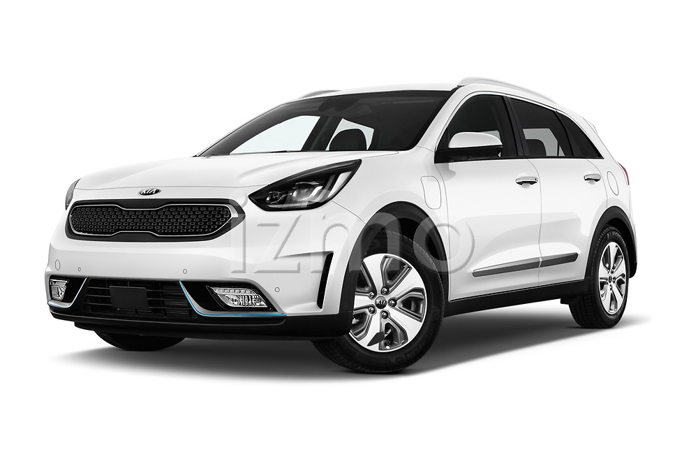 Stock pictures of low aggressive front three quarter view of a 2018 KIA Niro Plug-in Hybrid Sense 5 Door SUV