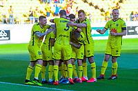 The Phoenix celebrate Phoenix's Ulises Davila's goal during the A-League football match between Wellington Phoenix and Melbourne Victory FC at Sky Stadium in Wellington, New Zealand on Sunday, 15 March 2020. Photo: Dave Lintott / lintottphoto.co.nz