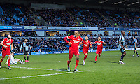 Jay Simpson of Leyton Orient celebrates his goal during the Sky Bet League 2 match between Wycombe Wanderers and Leyton Orient at Adams Park, High Wycombe, England on 23 January 2016. Photo by Massimo Martino / PRiME Media Images.