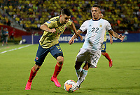 BUCARAMANGA - COLOMBIA, 06-02-2020: Agustin Urzi de Argentina disputa el balón con Nicolas Benedetti de Colombia durante partido entre Argentina U-23 y Colombia U-23 por el cuadrangular final como parte del torneo CONMEBOL Preolímpico Colombia 2020 jugado en el estadio Alfonso Lopez en Bucaramanga, Colombia. / Agustin Urzi of Argentina fights the ball with Nicolas Benedetti of Colombia during the match between Argentina U-23 and Colombia U-23 for the final quadrangular as part of CONMEBOL Pre-Olympic Tournament Colombia 2020 played at Alfonso Lopez stadium in Bucaramanga, Colombia. Photo: VizzorImage / Jaime Moreno / Cont