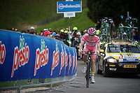 Maglia Rosa Steven Kruijswijk (NLD/LottoNL-Jumbo) speeding along to the (equaly fastest time)<br /> <br /> stage 15 (iTT): Castelrotto-Alpe di Siusi 10.8km<br /> 99th Giro d'Italia 2016