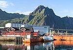 Industrial buildings in harbour at Svolvaer, Lofoten Islands, Nordland, Norway