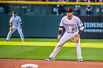 16 September 2017: Colorado Rockies shortstop Trevor Story in action against the San Diego Padres at Coors Field in Denver, Colorado. The Rockies shut out the Padres in a 16-0 route of the second game in their 3-game divisional series. Mandatory Credit: Ed Wolfstein Photo *** RAW (NEF) Image File Available ***
