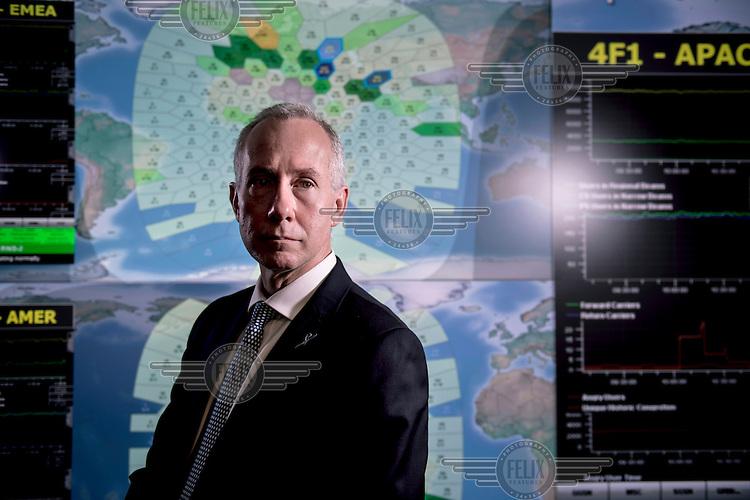 Ruy Pinto, head of Inmarsat satellite operations, in the control room at Inmarsat in London.