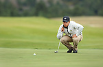 VALENTINE, NE - OCTOBER 2: Alejandro Perazzo from South Dakota State University lines up his par putt on the first hole during the SDSU Invite Monday at The Prairie Club in Valentine, NE. (Photo by Dave Eggen/Inertia)