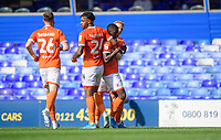 Blackpool's Sullay Kaikai, centre, celebrates scoring his side's second goal with team-mates Joe Nuttall, left, and Callum Guy<br /> <br /> Photographer Chris Vaughan/CameraSport<br /> <br /> The EFL Sky Bet League One - Coventry City v Blackpool - Saturday 7th September 2019 - St Andrew's - Birmingham<br /> <br /> World Copyright © 2019 CameraSport. All rights reserved. 43 Linden Ave. Countesthorpe. Leicester. England. LE8 5PG - Tel: +44 (0) 116 277 4147 - admin@camerasport.com - www.camerasport.com