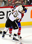 6 February 2010: Pittsburgh Penguins' right wing forward Bill Guerin gets into a third period fight with Montreal Canadiens center Ryan White at the Bell Centre in Montreal, Quebec, Canada. The Canadiens defeated the Penguins 5-3. Mandatory Credit: Ed Wolfstein Photographer