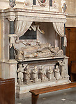 Interior of the priory church at Edington, Wiltshire, England, UK - the Lewis family memorial monument 17th century
