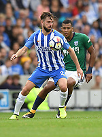 West Bromwich Albion's Jose Salomon Rondon (right) battles with Brighton &amp; Hove Albion's Davy Propper (left) <br /> <br /> Brighton 3 - 1 West Bromwich<br /> <br /> Photographer David Horton/CameraSport<br /> <br /> The Premier League - Brighton and Hove Albion v West Bromwich Albion - Saturday 9th September 2017 - The Amex Stadium - Brighton<br /> <br /> World Copyright &copy; 2017 CameraSport. All rights reserved. 43 Linden Ave. Countesthorpe. Leicester. England. LE8 5PG - Tel: +44 (0) 116 277 4147 - admin@camerasport.com - www.camerasport.com