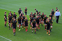 The Hurricanes walk in before the Super Rugby match between the Hurricanes and Sharks at Sky Stadium in Wellington, New Zealand on Saturday, 15 February 2020. Photo: Dave Lintott / lintottphoto.co.nz